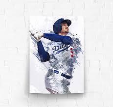 Amazon Com Topshelfprints Corey Seager Los Angeles Dodgers Poster Canvas Print Baseball Artwork Kids Room Wall Decor Man Cave Sports Decor Birthday Gift Idea Clothing