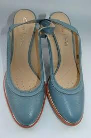BLUE LEATHER NEW CLARKS WOMENS ELLIS IVY