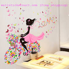 Shijuehezi Fairy Girl Wall Stickers Diy Butterflies Flowers Birdcage Wall Decals For Kids Room Home Girls Wall Stickers Kids Wall Decals Wall Decor Stickers