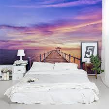 Thailand Pier Sunset Wall Mural Blue Purple Sunset Decal