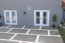 patio with large poured concrete pavers