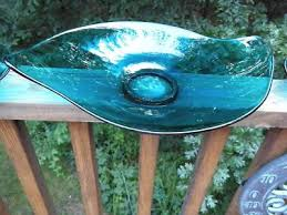 oblong viking glass blue console set