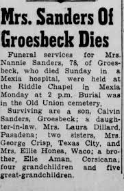 Obituary for Nannie Sanders (Aged 78) - Newspapers.com