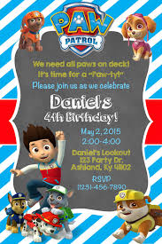 Paw Patrol Invite Shown In Light Blue 10 00 Invitaciones De