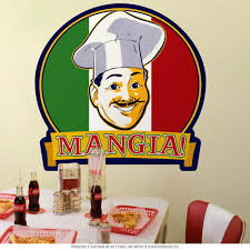 Mangia Italian Chef Flag Wall Decal At Retro Planet