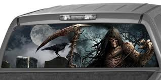 Grim Reaper Rear Window Graphic Decal Tint Perf Sticker For Etsy