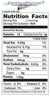 nutrition facts label fish seafood