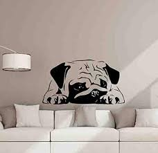 Amazon Com Pug Wall Decal Pug Dog Puppy Poster Dog Gifts Pet Shop Sign Animals For Nursery Vinyl Sticker Playroom Decor Home Kids Wall Sten Cmade In Usa Fast Delivery Home Kitchen