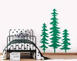 3 Large Pine Tree Forest Wall Decals Woodland Nursery Decor Etsy
