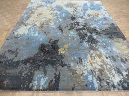 gray blue modern abstract oriental rug