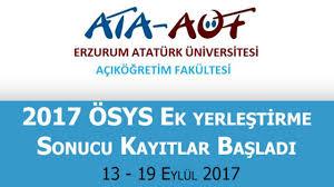 ATA-AÖF'ye 2017 ÖSYS Ek Yerleştirme Sonucu Kayıt İşlemleri Başladı