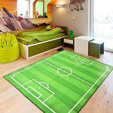 Huahoo Funs Soccer Field Ground Area Rug Sports Rug Playroom Carpet Kids Area Play Rug Green Football Pitch Rug 10 Kids Rugs Living Room Carpet Green Playroom