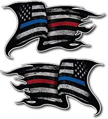 Amazon Com Pack Of 2 Thin Blue And Red Line To Show Support For Police And Firemen Decal Sticker Firefighter American Flag Vinyl Skull Tattered Distressed Fallen Officer Thin Blue Line Car Truck