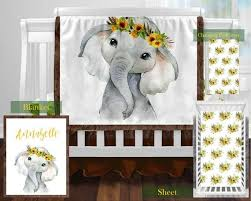 sunflower elephant personalized crib