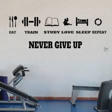 Gym Motivation Quote Vinyl Decal Never Give Up Workout Fitness Wall Sticker Sport Home Gym Interior Decor Murals 4318 Leather Bag