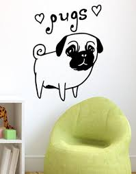 Cute Pug Dog Wall Decal Hearts I Love Pugs Os Mb504 Stickerbrand