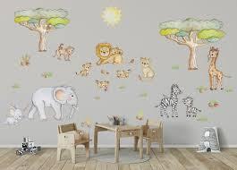 African Animal Wall Decal Elephant Wall Decor Safari Wall Decal Safari Nursery Wall Decal Safari Wall Stickers Giraffe Nursery Decal Girl In 2020 Safari Nursery Walls Nursery Wall Decals Wall Stickers Giraffe