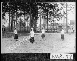 Waycross, 1911-1912. Bunn Bell Institute tennis team. Edith Smith,  Clementine LeCourt, Sula Ritch, Leila Summerall.--from field notes -  Vanishing Georgia - Georgia's Virtual Vault