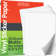 Joyeza 𝗣𝗿𝗲𝗺𝗶𝘂𝗺 Printable Vinyl Sticker Paper Decal For Inkjet Printer 𝟮𝟬 𝗦𝗵𝗲𝗲𝘁𝘀 Matte White Waterproof Dries Quickly Vivid Colors Holds Ink Well Guaranteed Tear Scratch Resistant