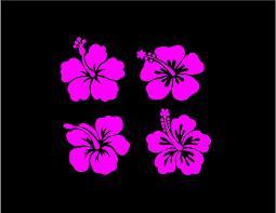 Hibiscus Flower Decals Custom Vinyl Car Truck Window Laptop Stickers Set Of 4 Car Decals Vinyl Custom Decals Custom Decal Stickers