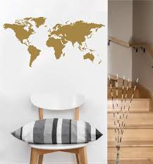 Amazon Com Detailed World Map Wall Decal Gold Metallic Measures 22 H X 45 W Home Kitchen