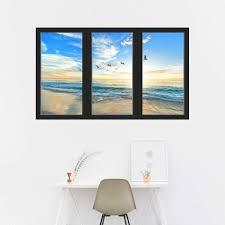 Vwaq Sunset 3d Beach Office Window Wall Decals Ocean View Sticker Se