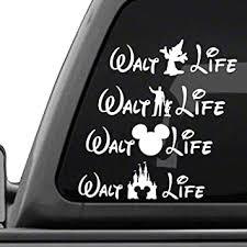 Amazon Com Signage Cafe Walt Life Disney Four Pack Of Vinyl Decals White Vinyl Car Truck Decal Stickers Disney World Land Automotive