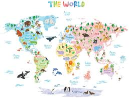 Amazon Com Decowall Dlt 1615 Animal World Map Kids Wall Stickers Wall Decals Peel And Stick Removable Wall Stickers For Kids Nursery Bedroom Living Room Xlarge Decor Home Kitchen
