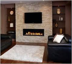 landscape gas fireplace with tv above