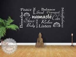 Namaste Yoga Quote Wall Sticker Montage Meditation Wall Art Etsy