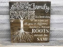 wooden family tree sign rustic roots sign family gift mrs