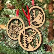 wood ornament laser cutouts bird tree