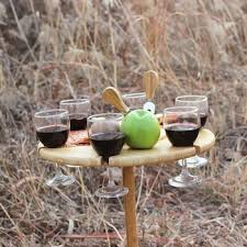 portable picnic wine table with glass