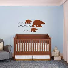 Cute Happy Little Family Of Bears With Tracks Vinyl Wall Art Decal For Homes Offices Kids Rooms Vinyl Art Stickers Unique Wall Decals Vinyl Wall Art Decals