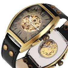 mechanical watch men leather band