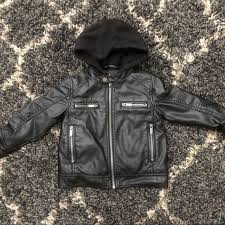 toddler faux leather hooded jacket