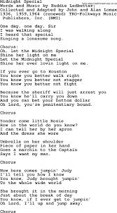 Pete Seeger song - Midnight Special lyrics