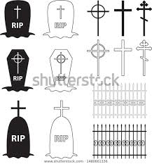 Icons Halloween Cemetery Fence Crosses Tombstones Stock Vector Royalty Free 1480661336