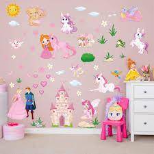 Decalmile Princess Unicorn Wall Stickers Fairy Castle Wall Decals Baby Nursery Girls Bedroom Wall Decor Unicorn Rainbow Shop