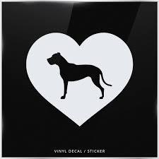 Dogo Argentino Dog Silhouette Heart Car Window Decal Vinyl Sticker Wall Wish