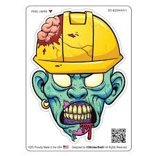 Blue Zombie With Hard Hat V1 4 Full Color Printed Vinyl Decal Windo Stickerdad Shirtmama