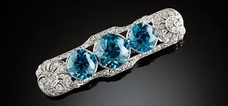 art deco blue zircon and diamond