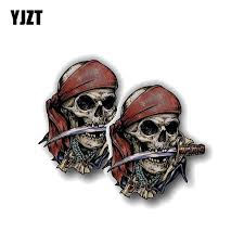 Yjzt 2x 8 4cm 9 3cm Creative Pirate Skull Car Sticker Reflective Motor Bargain Industries