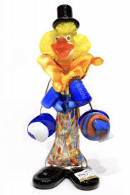 murano glass clown with ball signed