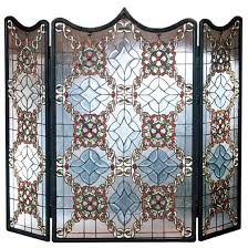 stained glass fireplace screen 44 w x