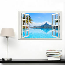 41 Off 2020 3d Window Wall Sticker Home Decor Living Room Nature Landscape Decal In Blue Dresslily