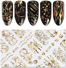 Amazon Com Bornbeauty Holographic Gold 3d Nail Art Sticker Flower Star Circle Butterfly 8 Sheets Adhesive Nail Foil Decal Arts Crafts Sewing