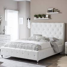 white faux leather upholstered