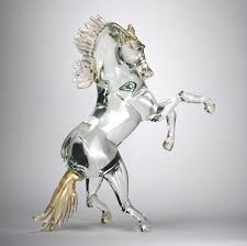 murano glass clear and gold horse