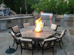 hexagon fire pit dining table closer to